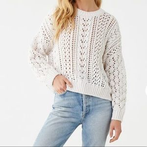 Forever 21 Cream Cable Knit Drop Sleeve Sweater